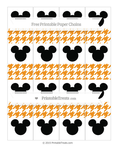 Free Carrot Orange Houndstooth Pattern Mickey Mouse Paper Chains