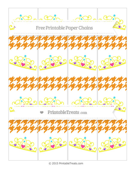 Free Carrot Orange Houndstooth Pattern Princess Tiara Paper Chains