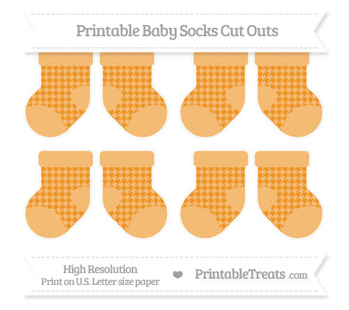 Free Carrot Orange Houndstooth Pattern Small Baby Socks Cut Outs