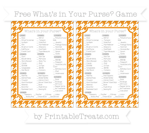 Free Carrot Orange Houndstooth Pattern What's in Your Purse Baby Shower Game