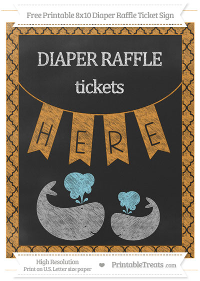 Free Carrot Orange Moroccan Tile Chalk Style Baby Whale 8x10 Diaper Raffle Ticket Sign