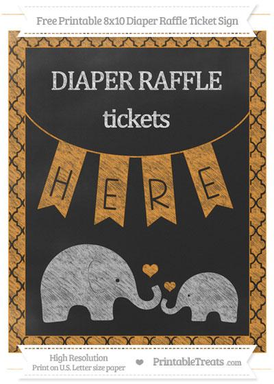 Free Carrot Orange Moroccan Tile Chalk Style Elephant 8x10 Diaper Raffle Ticket Sign