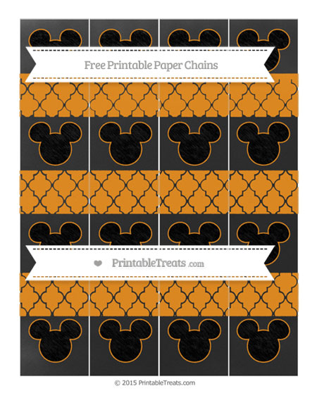 Free Carrot Orange Moroccan Tile Chalk Style Mickey Mouse Paper Chains