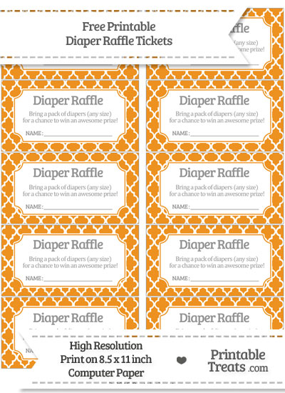 Free Carrot Orange Moroccan Tile Diaper Raffle Tickets