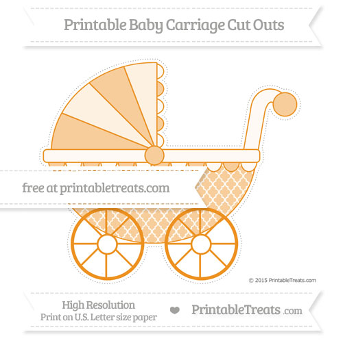 Free Carrot Orange Moroccan Tile Extra Large Baby Carriage Cut Outs