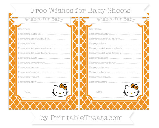 Free Carrot Orange Moroccan Tile Hello Kitty Wishes for Baby Sheets