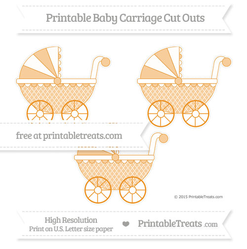 Free Carrot Orange Moroccan Tile Medium Baby Carriage Cut Outs