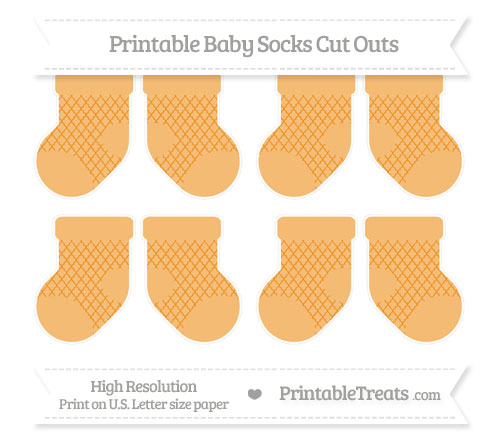 Free Carrot Orange Moroccan Tile Small Baby Socks Cut Outs