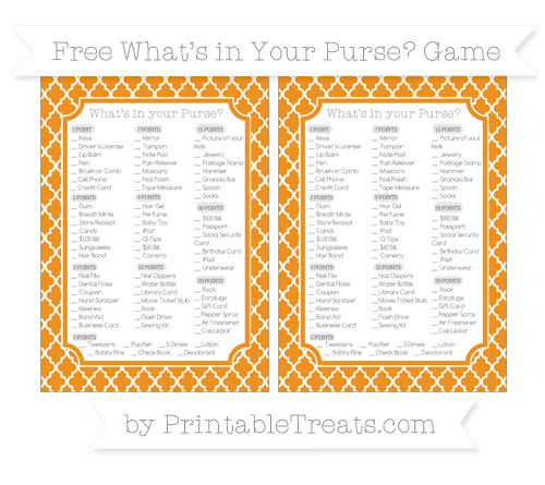 Free Carrot Orange Moroccan Tile What's in Your Purse Baby Shower Game