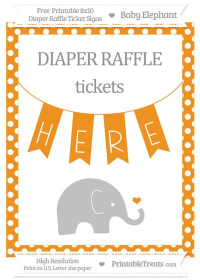 Free Carrot Orange Polka Dot Baby Elephant 8x10 Diaper Raffle Ticket Sign