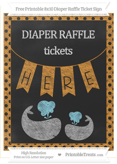 Free Carrot Orange Polka Dot Chalk Style Baby Whale 8x10 Diaper Raffle Ticket Sign
