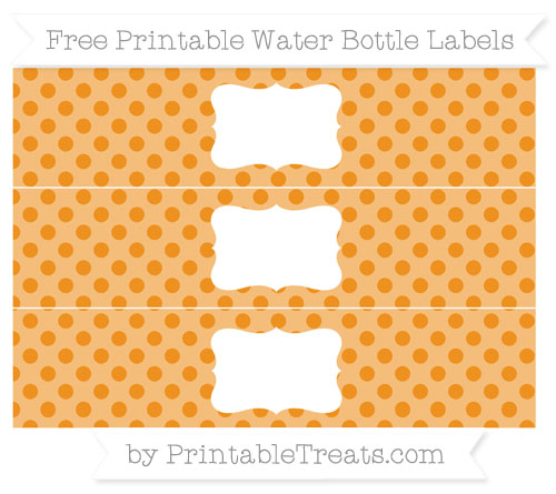 Free Carrot Orange Polka Dot Water Bottle Labels