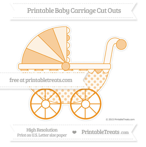 Free Carrot Orange Polka Dot Extra Large Baby Carriage Cut Outs