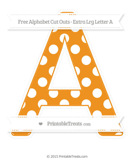 Free Carrot Orange Polka Dot Extra Large Capital Letter A Cut Outs