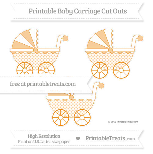 Free Carrot Orange Polka Dot Medium Baby Carriage Cut Outs