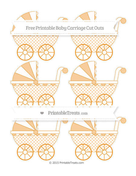 Free Carrot Orange Polka Dot Small Baby Carriage Cut Outs