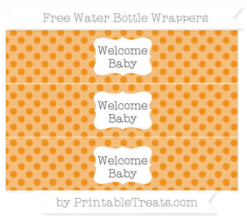 Free Carrot Orange Polka Dot Welcome Baby Water Bottle Wrappers
