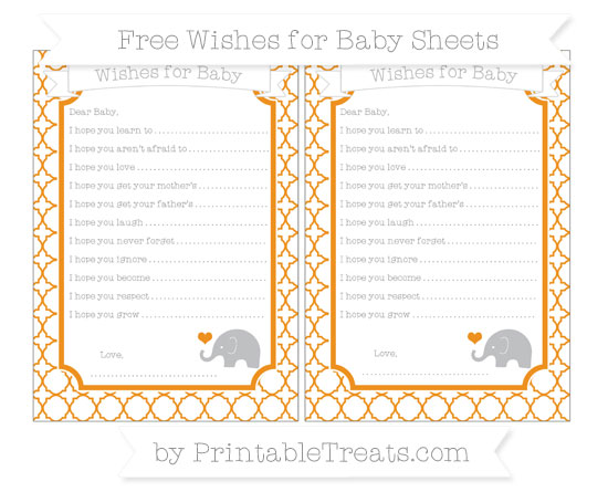 Free Carrot Orange Quatrefoil Pattern Baby Elephant Wishes for Baby Sheets