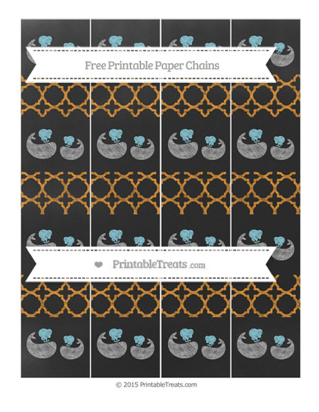 Free Carrot Orange Quatrefoil Pattern Chalk Style Baby Whale Paper Chains