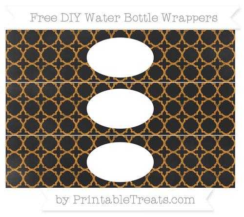 Free Carrot Orange Quatrefoil Pattern Chalk Style DIY Water Bottle Wrappers