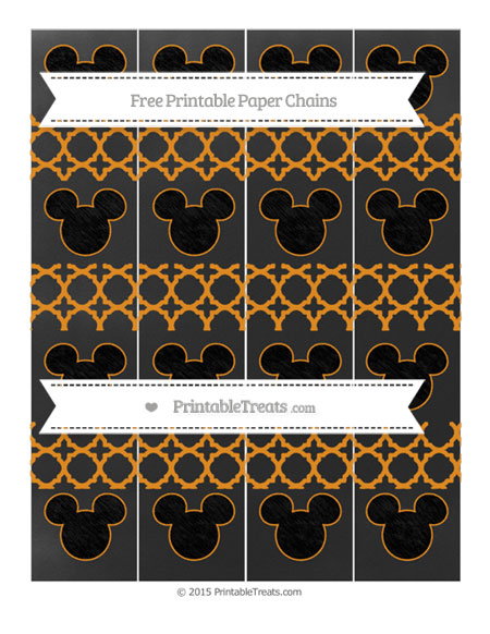 Free Carrot Orange Quatrefoil Pattern Chalk Style Mickey Mouse Paper Chains