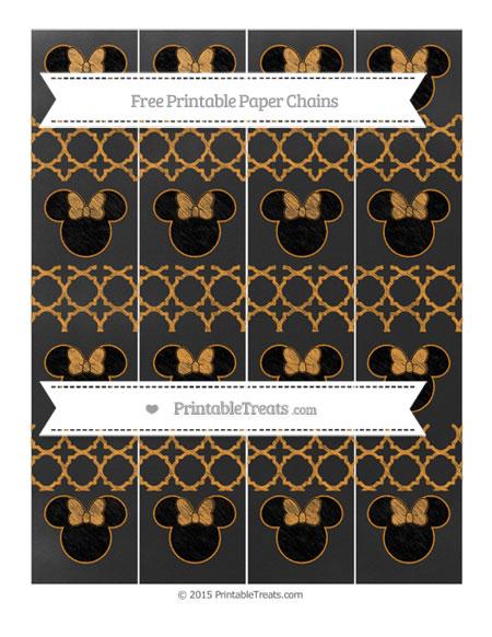 Free Carrot Orange Quatrefoil Pattern Chalk Style Minnie Mouse Paper Chains