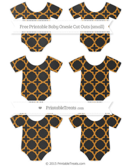 Free Carrot Orange Quatrefoil Pattern Chalk Style Small Baby Onesie Cut Outs