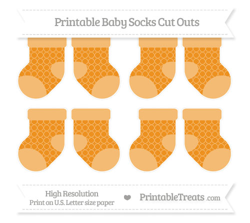 Free Carrot Orange Quatrefoil Pattern Small Baby Socks Cut Outs