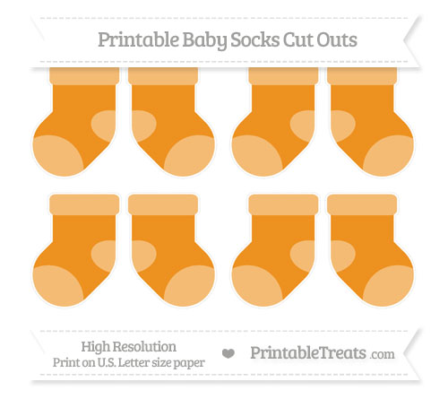 Free Carrot Orange Small Baby Socks Cut Outs