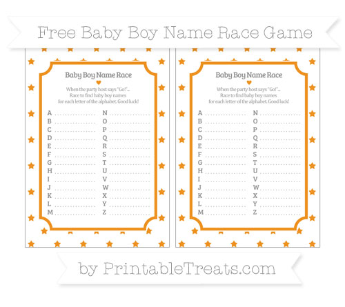 Free Carrot Orange Star Pattern Baby Boy Name Race Game