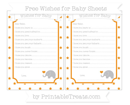 Free Carrot Orange Star Pattern Baby Elephant Wishes for Baby Sheets