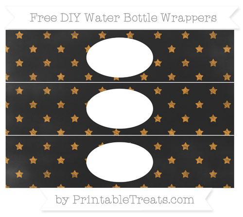 Free Carrot Orange Star Pattern Chalk Style DIY Water Bottle Wrappers