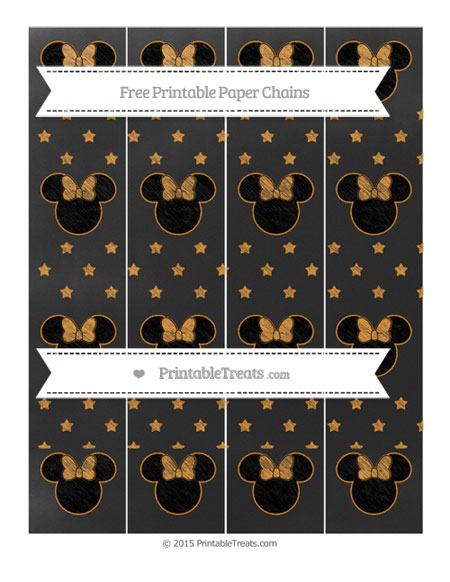 Free Carrot Orange Star Pattern Chalk Style Minnie Mouse Paper Chains