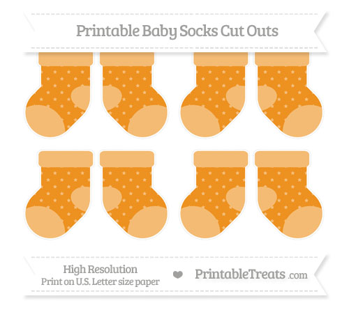 Free Carrot Orange Star Pattern Small Baby Socks Cut Outs