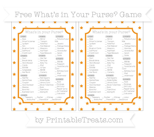 Free Carrot Orange Star Pattern What's in Your Purse Baby Shower Game