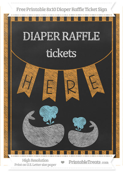 Free Carrot Orange Striped Chalk Style Baby Whale 8x10 Diaper Raffle Ticket Sign
