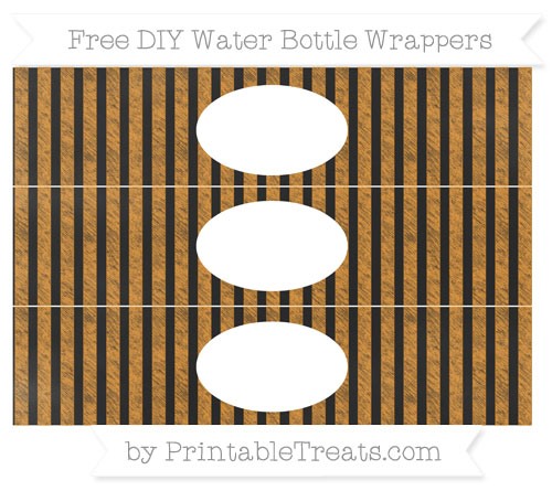 Free Carrot Orange Striped Chalk Style DIY Water Bottle Wrappers