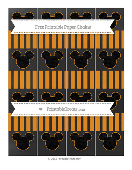 Free Carrot Orange Striped Chalk Style Mickey Mouse Paper Chains