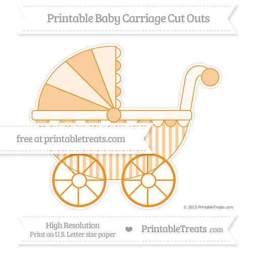 Free Carrot Orange Striped Extra Large Baby Carriage Cut Outs