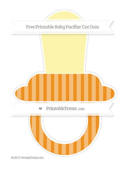 Free Carrot Orange Striped Extra Large Baby Pacifier Cut Outs