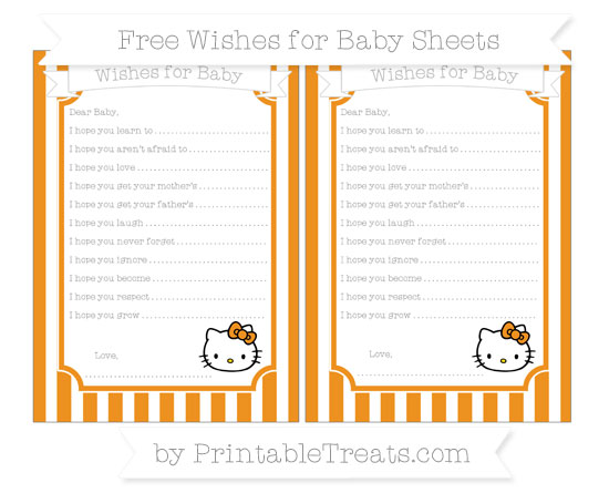 Free Carrot Orange Striped Hello Kitty Wishes for Baby Sheets