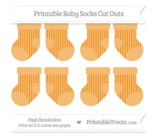 Free Carrot Orange Striped Small Baby Socks Cut Outs