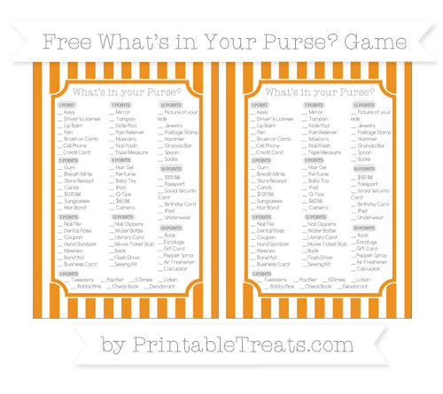 Free Carrot Orange Striped What's in Your Purse Baby Shower Game