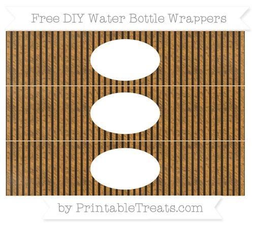 Free Carrot Orange Thin Striped Pattern Chalk Style DIY Water Bottle Wrappers