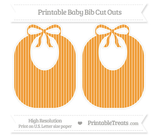 Free Carrot Orange Thin Striped Pattern Large Baby Bib Cut Outs