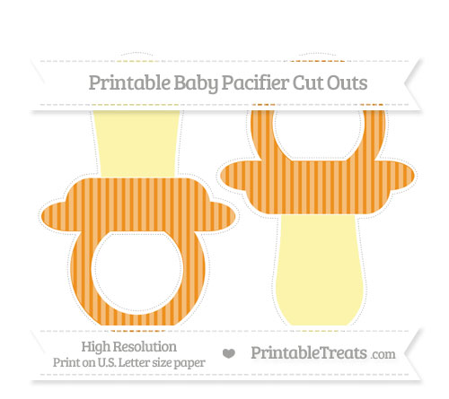 Free Carrot Orange Thin Striped Pattern Large Baby Pacifier Cut Outs