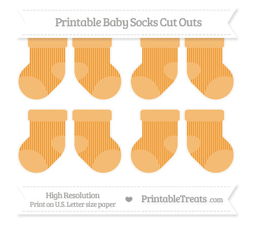 Free Carrot Orange Thin Striped Pattern Small Baby Socks Cut Outs