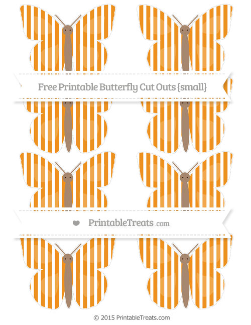 Free Carrot Orange Thin Striped Pattern Small Butterfly Cut Outs