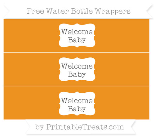 Free Carrot Orange Welcome Baby Water Bottle Wrappers
