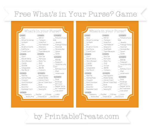 Free Carrot Orange What's in Your Purse Baby Shower Game